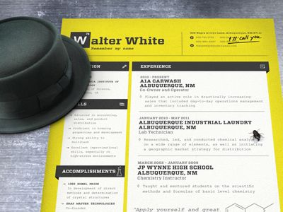 Walter Whiteu0027s Resume Dark, Creative and Colours - resume styles