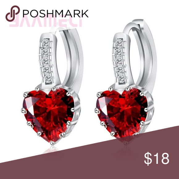 #1Romantic Heart Crystal Loop Lever Back Earring A