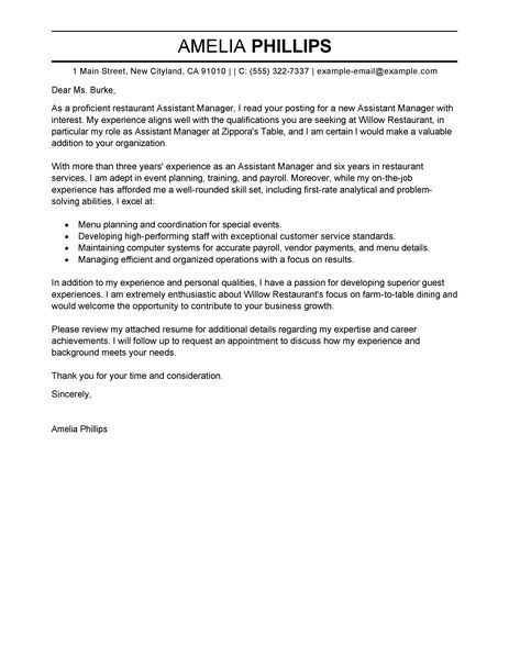 Big Traditional Assistant ManagerCover Letter Example Business - assistant manager restaurant resume