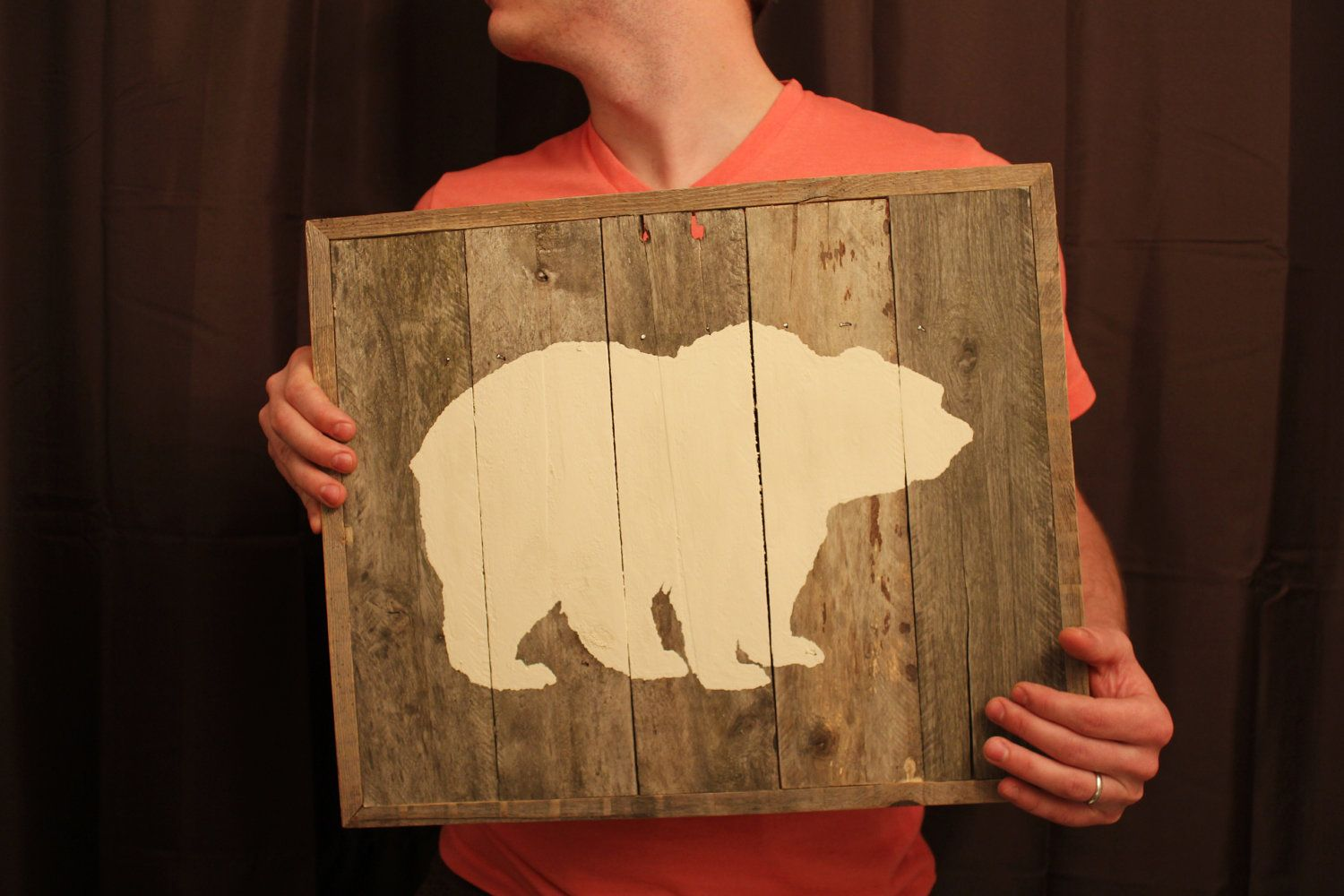Bear Silhouette on Reclaimed Wood Wall Art (made to order). $75.00 ...