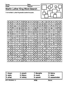 Martin Luther King Word Search Printable Classroom Pinterest