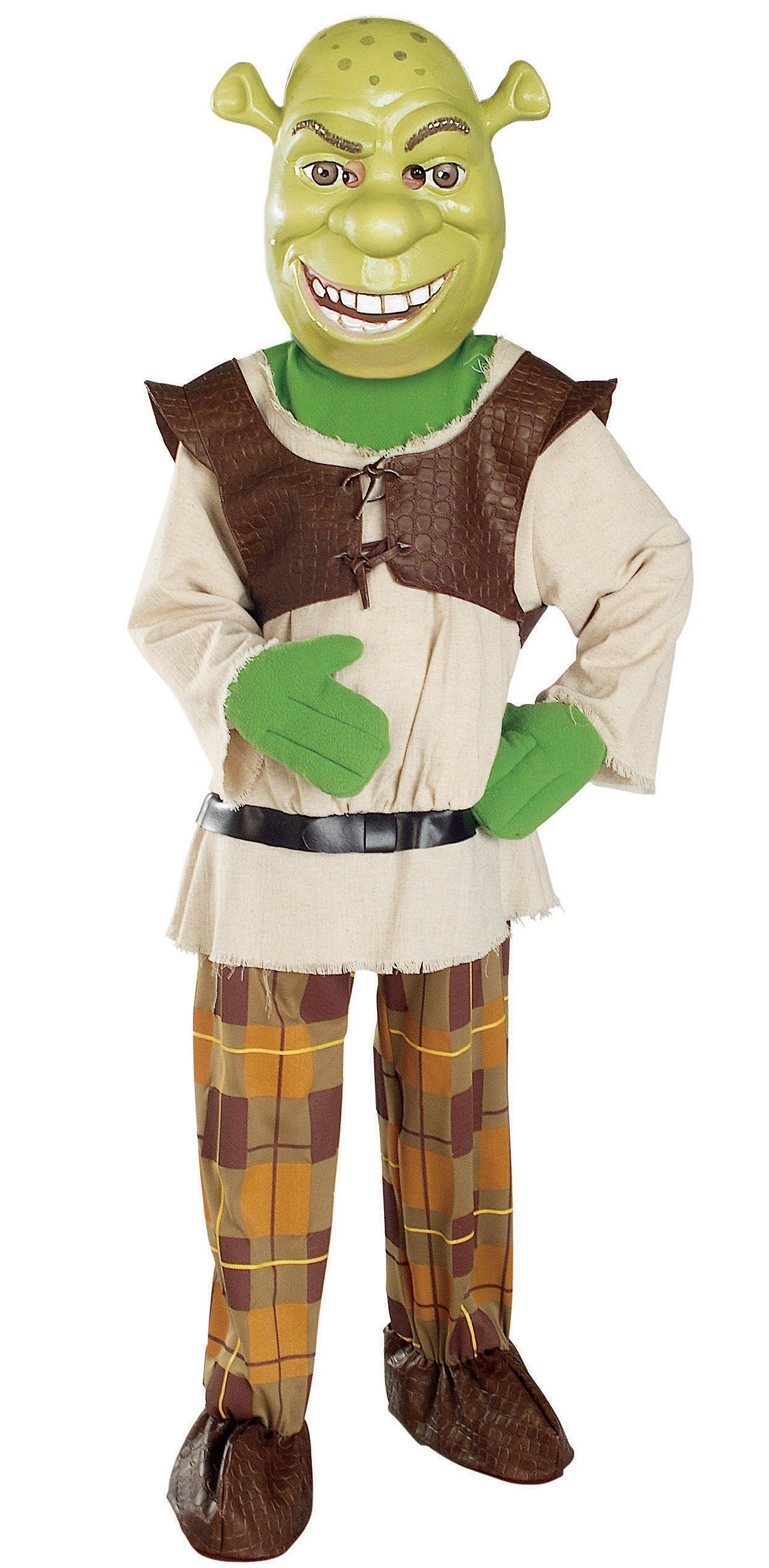 Shrek w/Mask Deluxe Child Costume - Includes Character mask, deluxe jumpsuit with attached tunic, vest, belt and hand and shoe covers. Available in Child sizes: Small (4-6), Medium (8-10), and Large (12-14). This is an officially licensed Shrek 2 costume. Small (4-6).