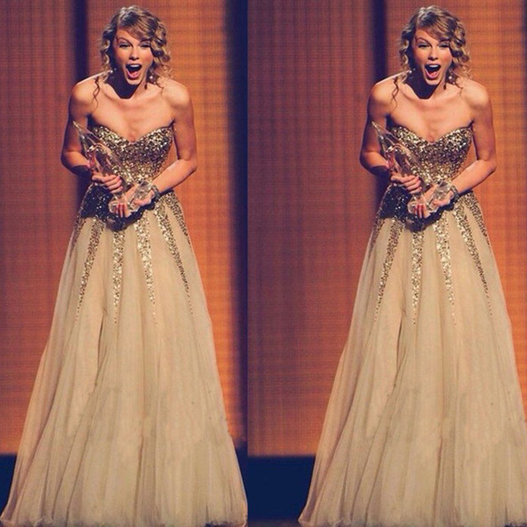 Taylor Swift Celebrity Inspired Sweetheart Gold Sequin Tulle Long ...
