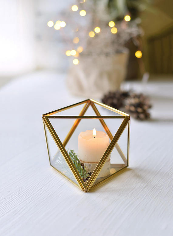 Small Glass Candle Holder Wedding Candle Holders Geometric Candle