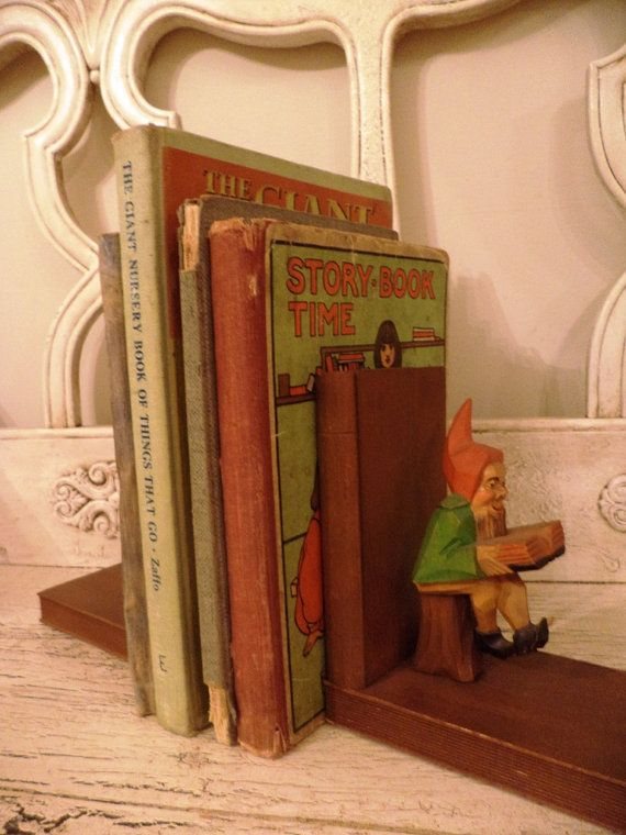 Vintage Gnome Bookends  Wooden Elf  Book by Thebeezkneezvintage