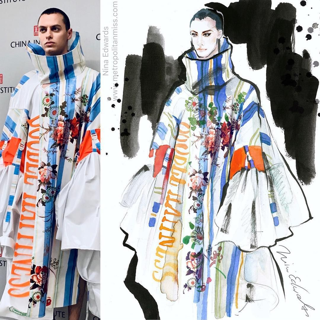 My Fashion Illustration Inspired By One Of The Winning Designs From The China Institute 201 Fashion Design Competition Fashion Illustration Design Competitions