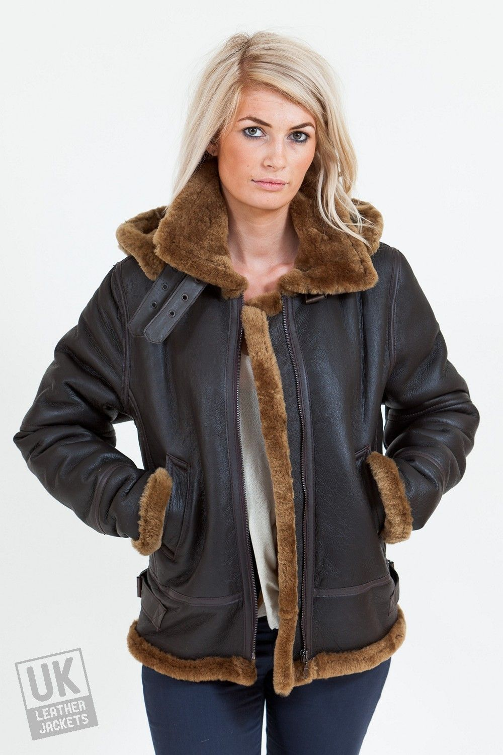 Women's Sheepskin Flying Jacket - Detach Hood - Brown - Front ...