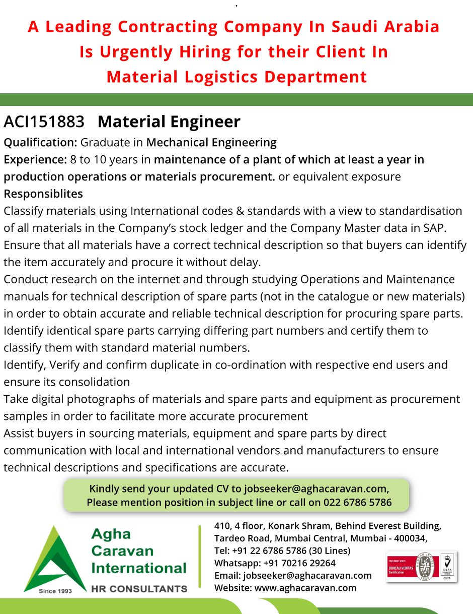 Urgently Required in #SaudiArabia #Material #Engineer Kindly