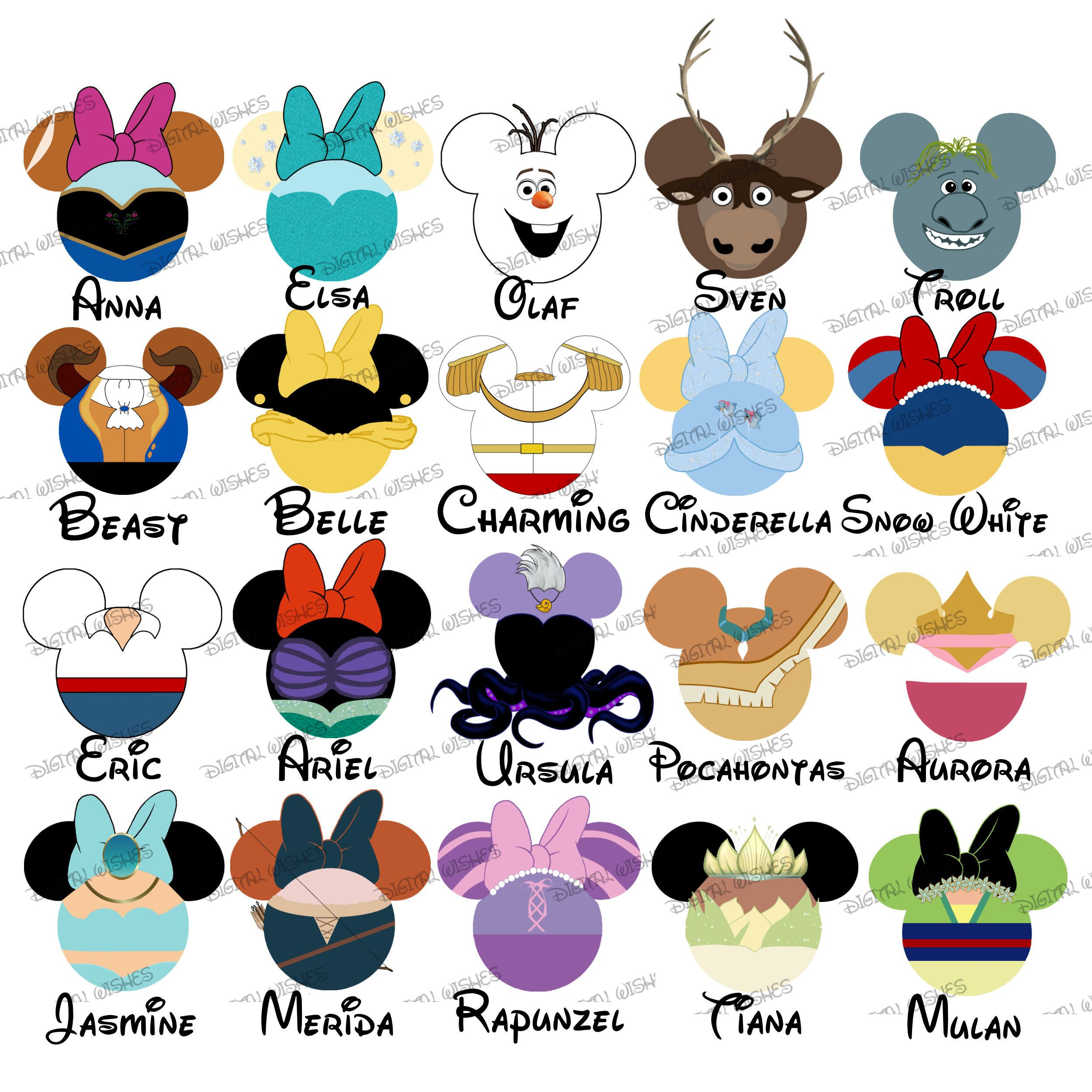CHOOSE YOUR MOUSE HEAD CHARACTERS Disney Family Vacation Digital Clip Art 1 8 Characters