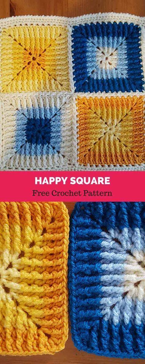 Happy square [ FREE CROCHET PATTERN | Beginner Crochet Patterns and ...