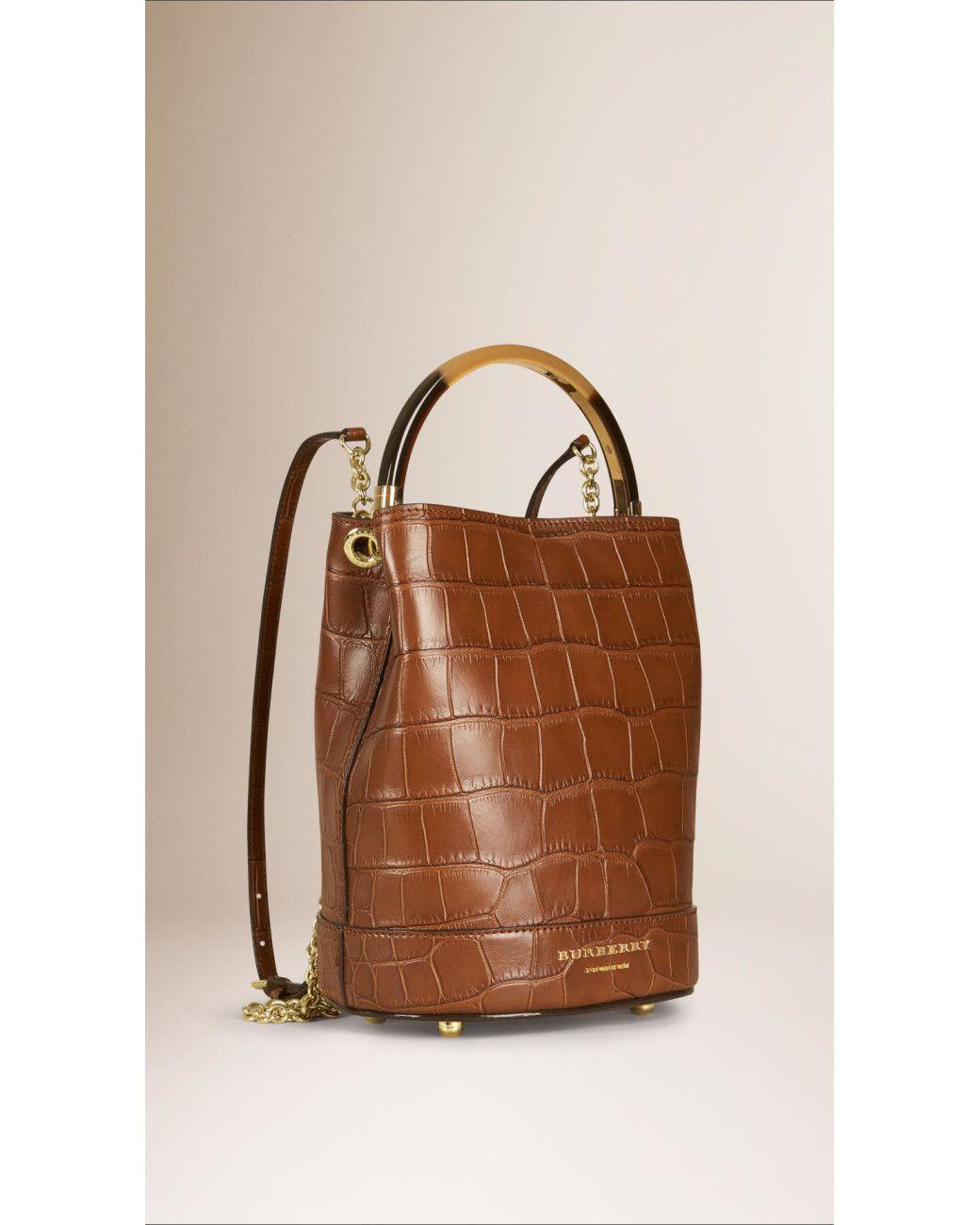 3a84fb1d8b3 Burberry   Brown The Bucket Backpack In Alligator   Lyst Handbag Lyst.