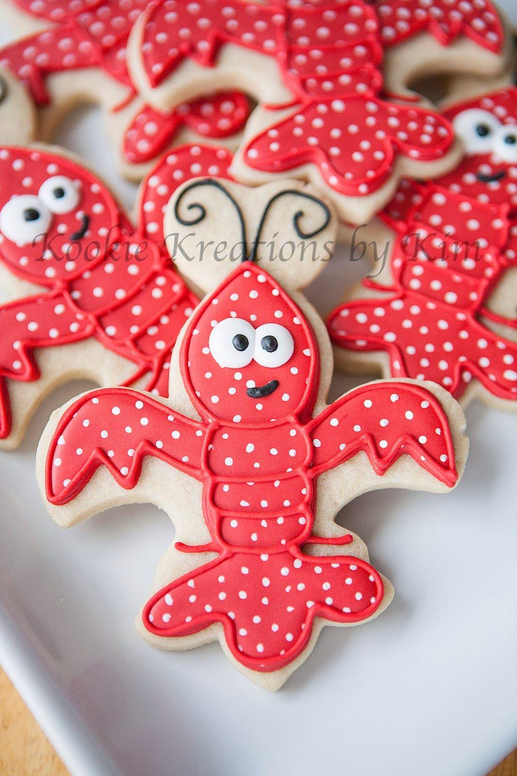 Fleur de lis crawfish cookies - Kookie Kreations by Kim | Seaside | Cookies, Cookie decorating ...