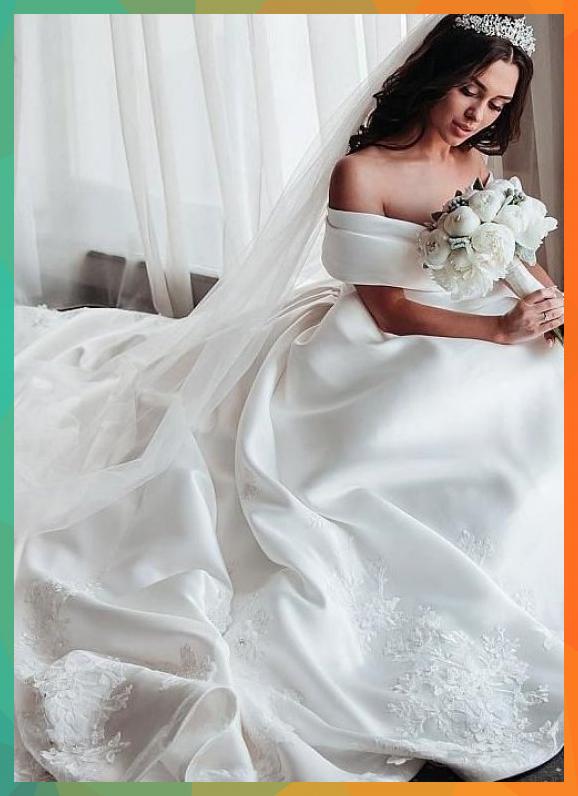 [226.50] Delicate Satin Off-the-shoulder Neckline A-line Wedding Dresses With Lace Appliques & 3d Lace Appliques & Beadings - magbridal.com.cn<br />#ALine #Appliques #Beadings #delicate #Dresses #Lace #magbridalcomcn #Neckline #OffTheShoulder #Satin #Wedding