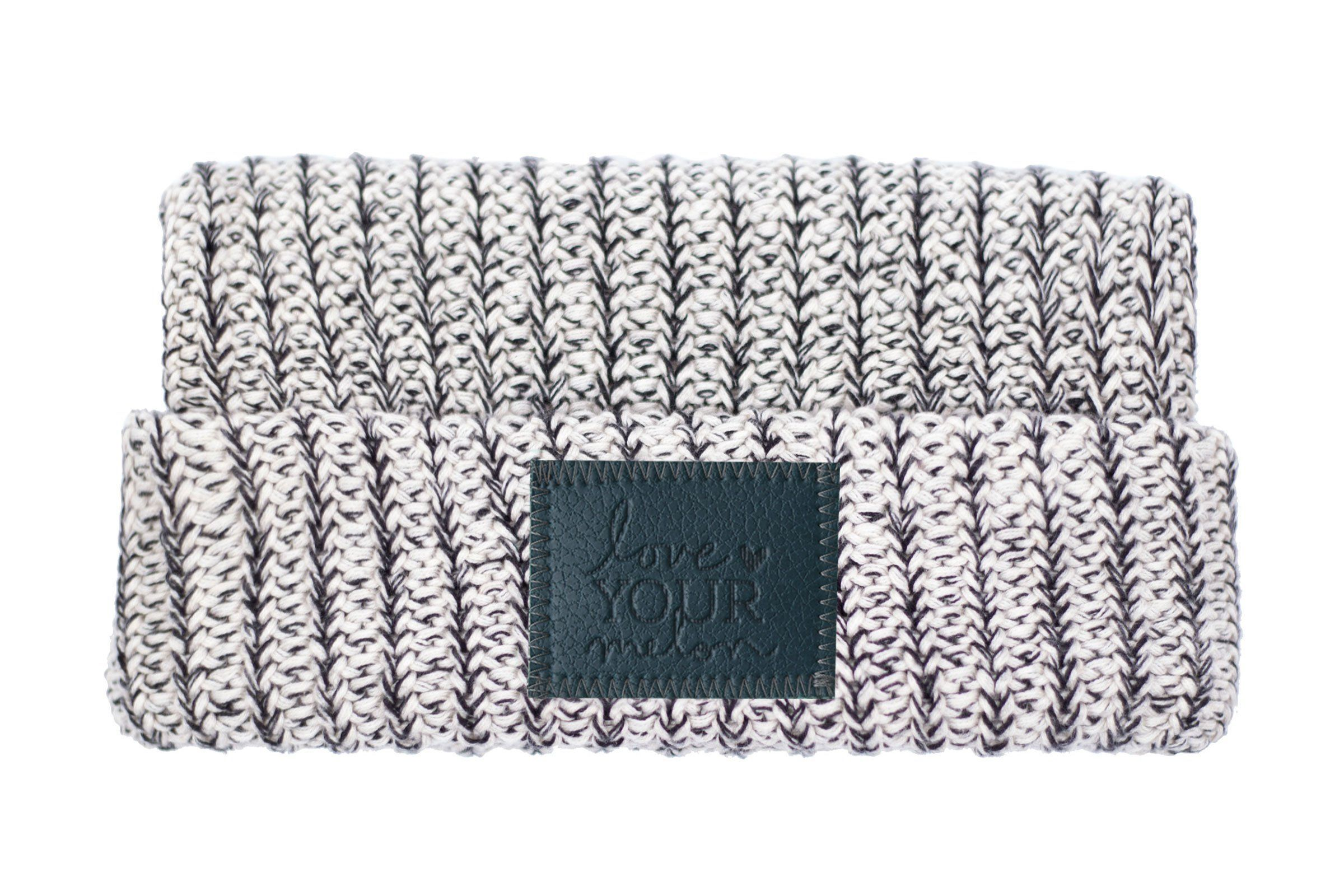 Black Speckled Cuffed Beanie (Faux Leather Patch)  76ff5025481