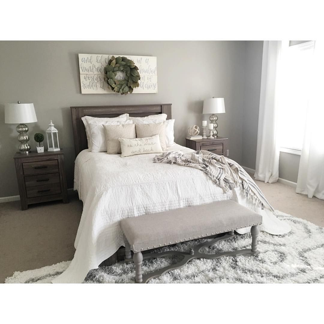 Master Bedroom Color Decor Idea Furniture Lighting And Set Up Are Very Similar To Ours See This Instagram Photo By Kristieh14