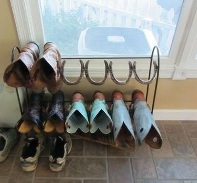 Horseshoe Boot Rack. Maybe it would get my 2 pairs, dans 3 pairs, Kate's 1 pair, and Sams 1 pair out from in front of my back door already!!!