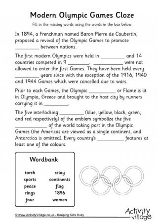 modern olympics cloze worksheet olympics olympics. Black Bedroom Furniture Sets. Home Design Ideas