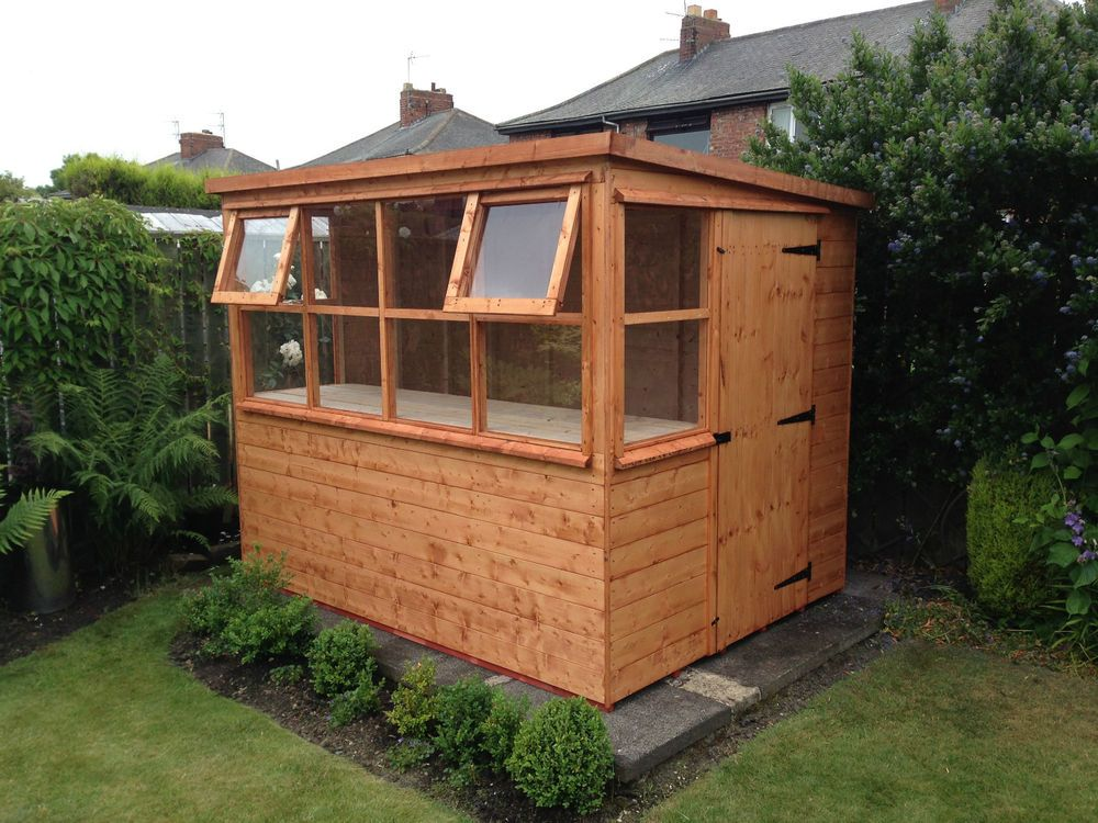 potting shed sun pent greenhouse great garden addition - Garden Sheds With Greenhouse