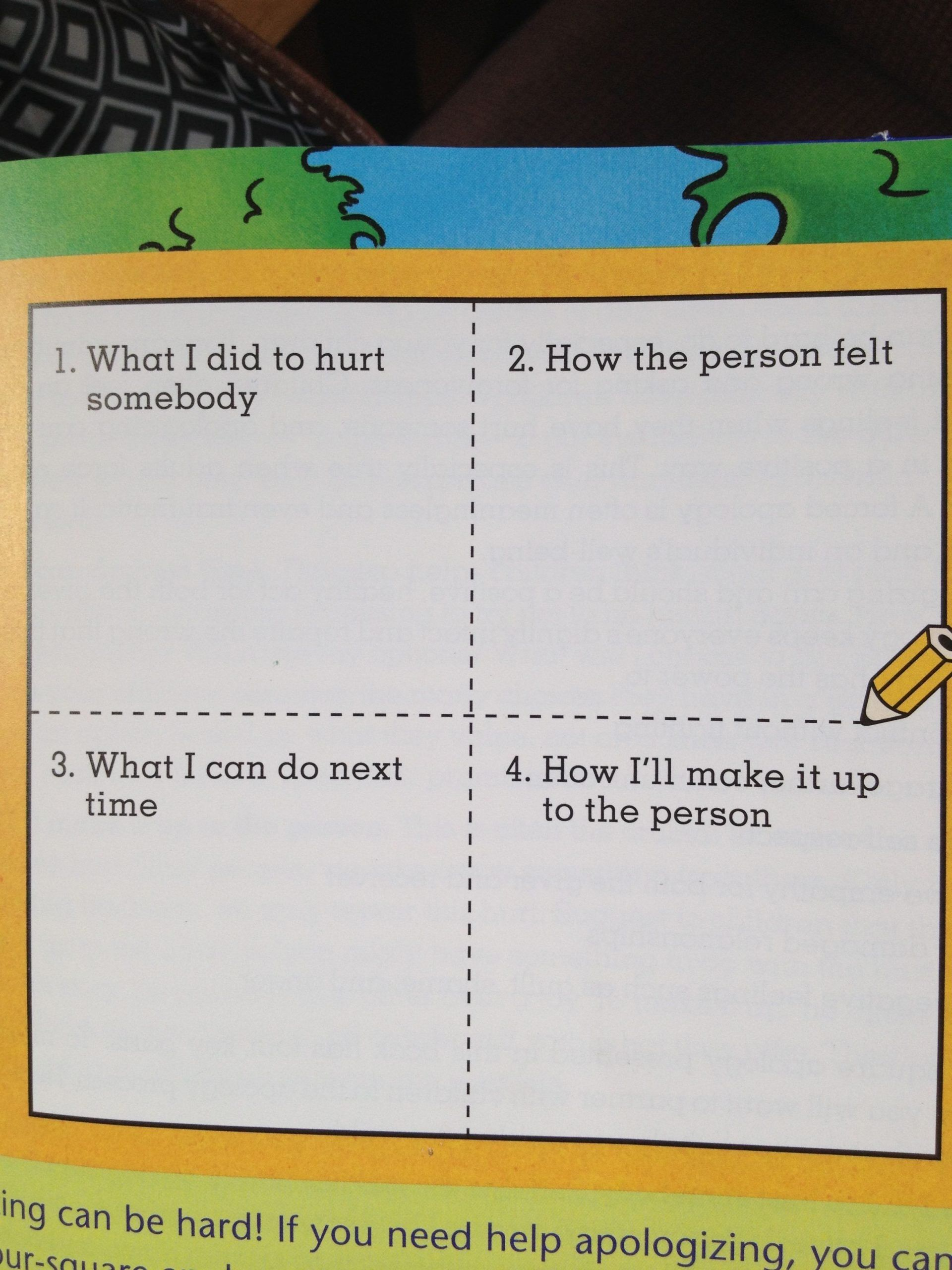 Four Square Writing Worksheets Four Square Apology Chart