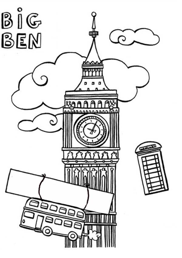 Big Ben, : Big Ben and England Trade Mark Coloring Page