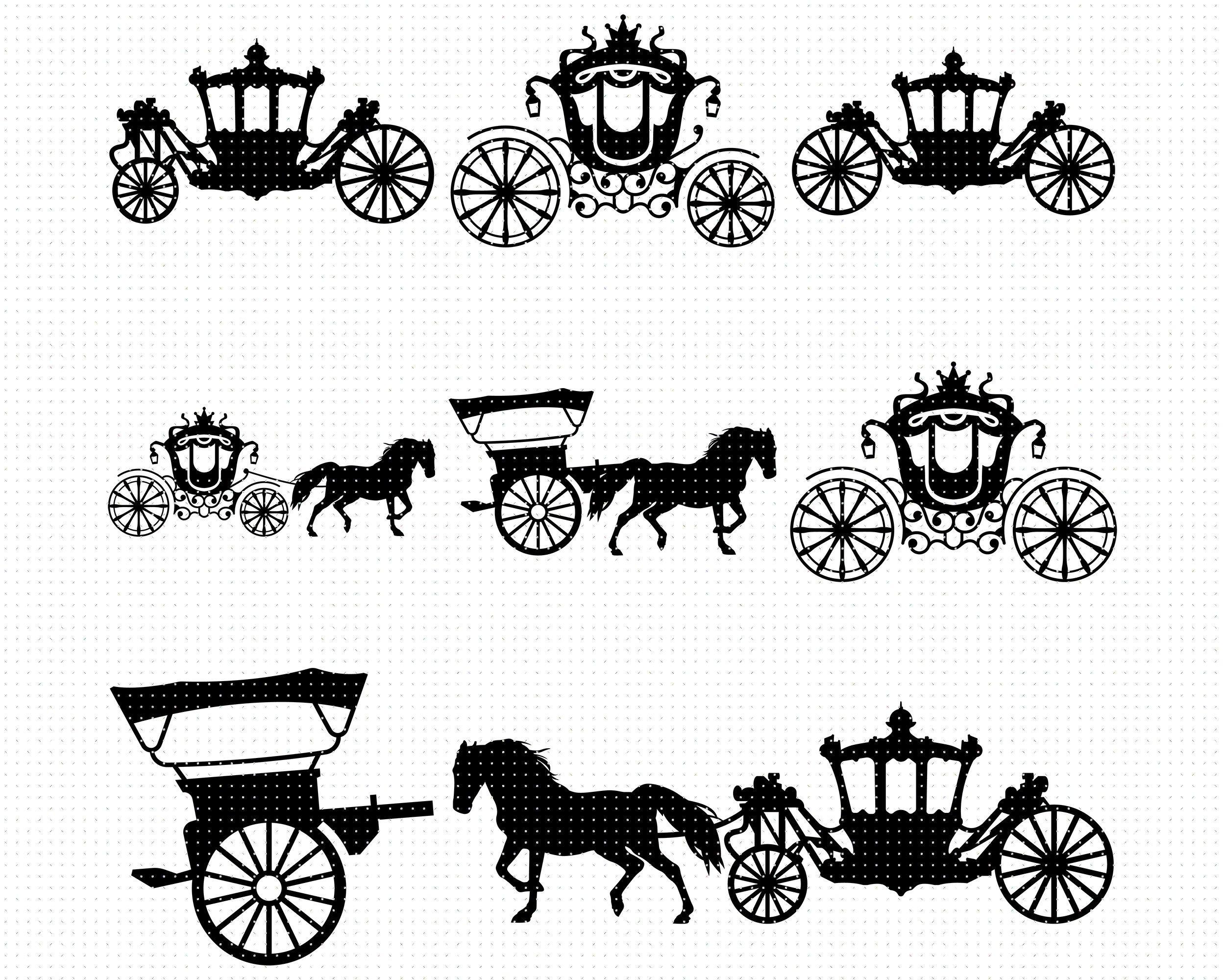 Horse Carriage Svg Princess Carriage Svg Horse Drawn Etsy Horse Carriage Princess Carriage Svg