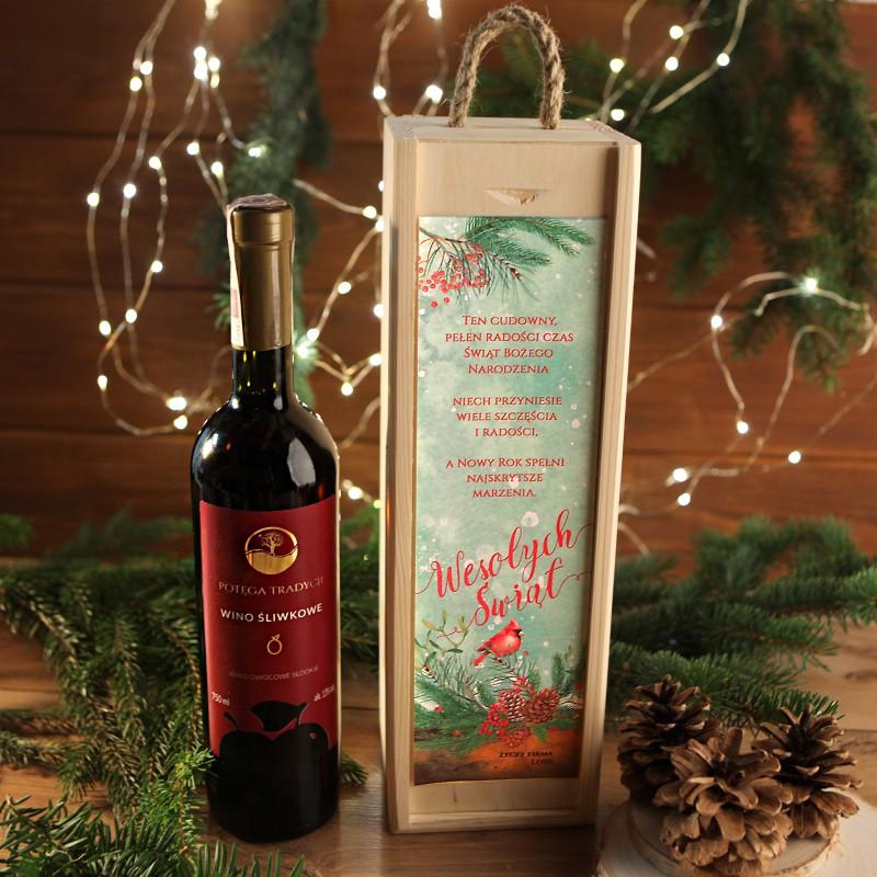 Wino 750ml Sliwkowe Na Prezent Firmowy W Drewnianej Skrzyni Wesole Swieta Z Logo Wine Bottle Macallan Whiskey Bottle Bottle