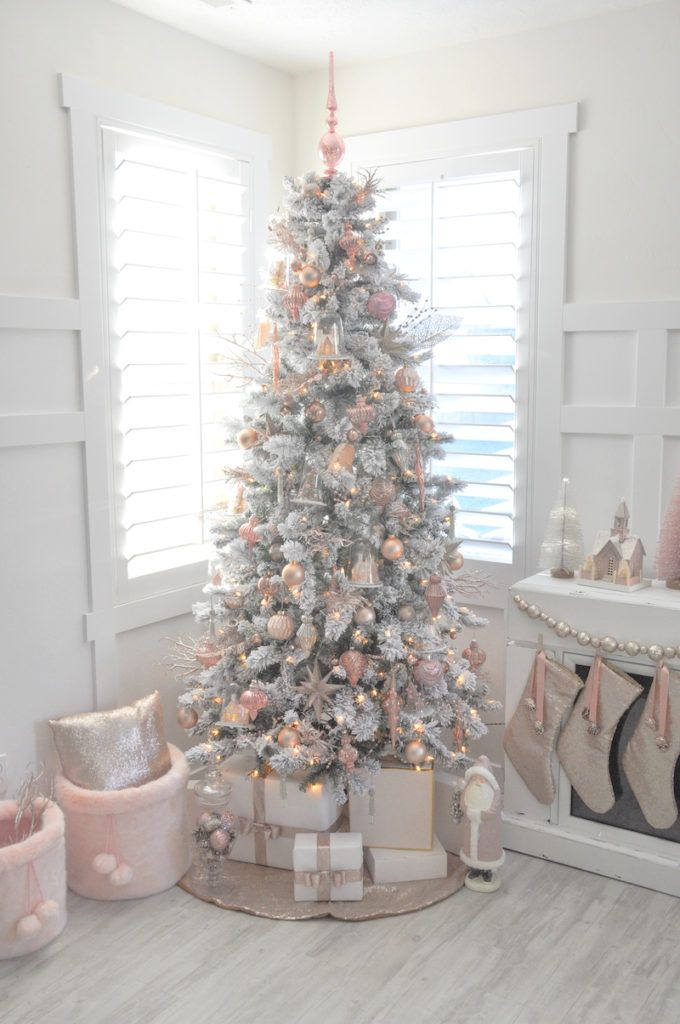 Blush pink and white flocked vintage inspired Christmas tree by