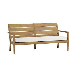 Regatta Sofa With Sunbrella White Sand Cushions Outdoor Furniture Cushions Teak Patio Furniture Green Cushions