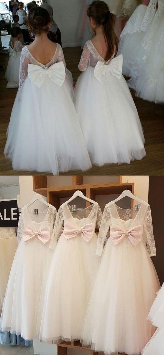 6ad2b0310b4 Pink White Flower Girl Dresses for Wedding Party from dressydances ...