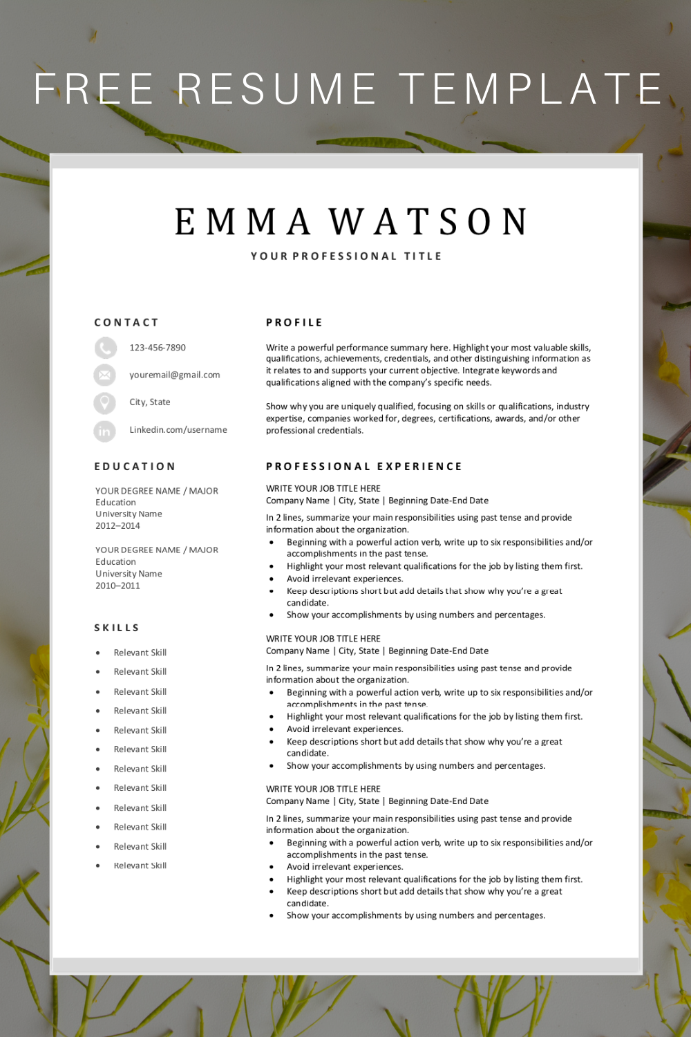 Looking For A Free Editable Resume Template Sign Up For Our Job Search Tips And Dow Resume Template Free Nursing Resume Template Downloadable Resume Template