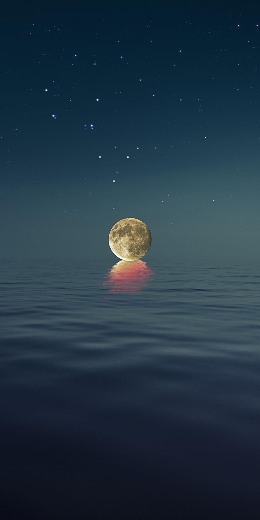 Sea Full Moon Photoshop 1080x2160 Wallpaper Full Hd Wallpaper Android Full Moon Photography Moon Sea