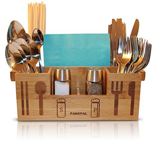 Bamboo Wooden Utensil Caddy Flatware Holder For Spoons Knives Forks Chopsticks Salt Pepper Shakers Napki Wooden Kitchen Utensils Wood Utensils Wooden Utensils