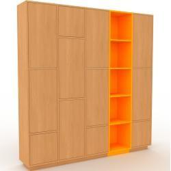 Photo of Wohnwand Buche – Individuelle Designer-Regalwand: Türen in Buche – Hochwertige Materialien – 195 x 2