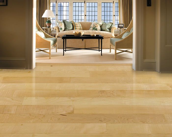 Natural maple hardwood floors by W D Flooring. wdflooring.com