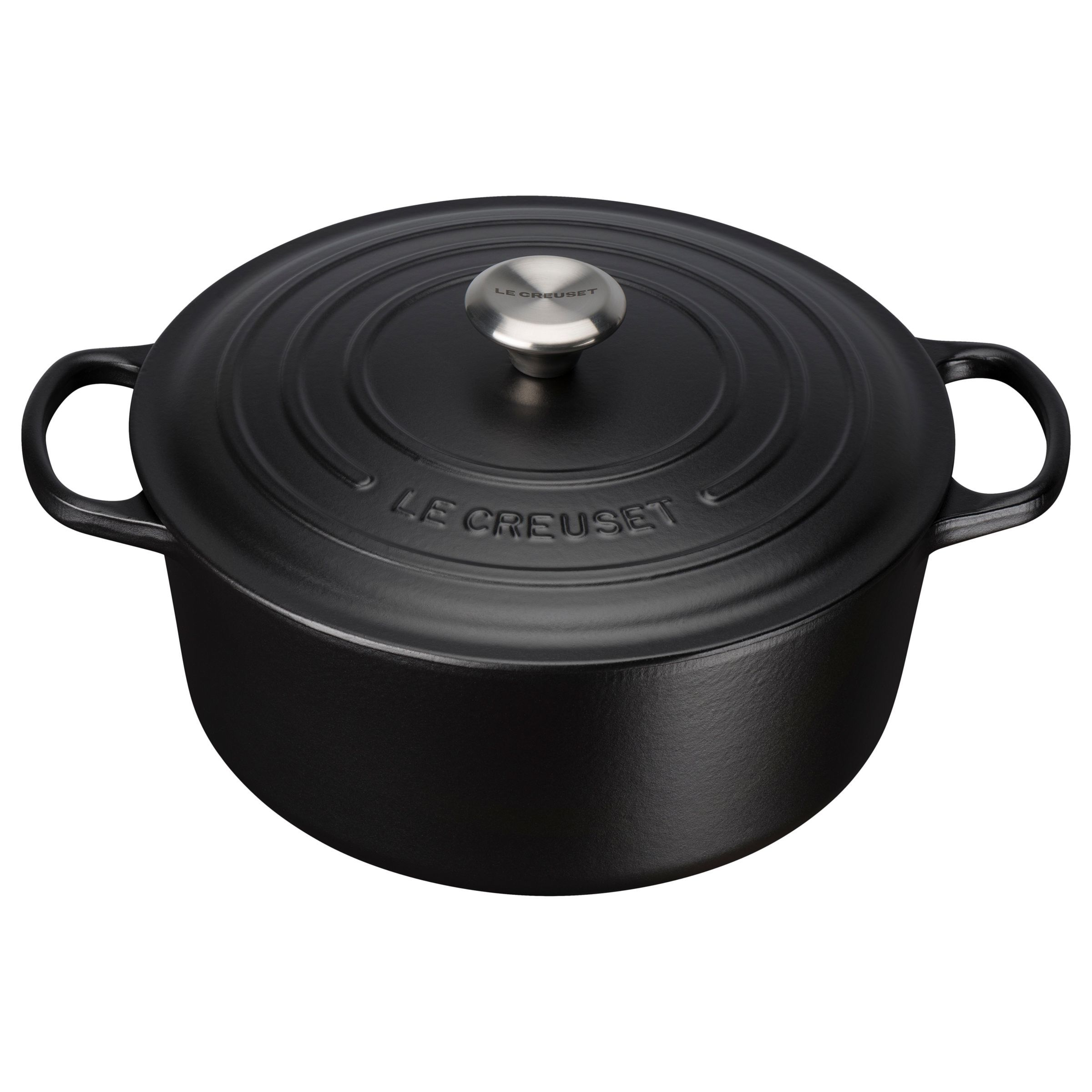 Le Creuset Signature Cast Iron Round Casserole Satin Black In