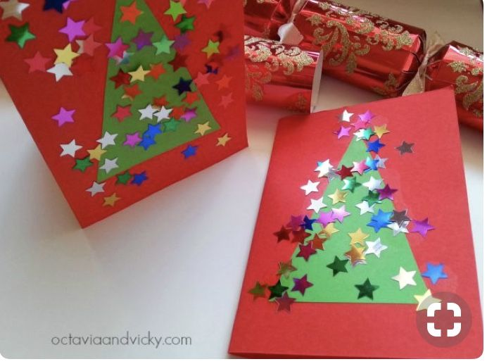 Easy Christmas Card Ideas For Kids To Make Part - 27: Easy Peasy Kid Made Christmas Tree Cards {Octavia And Vicky}