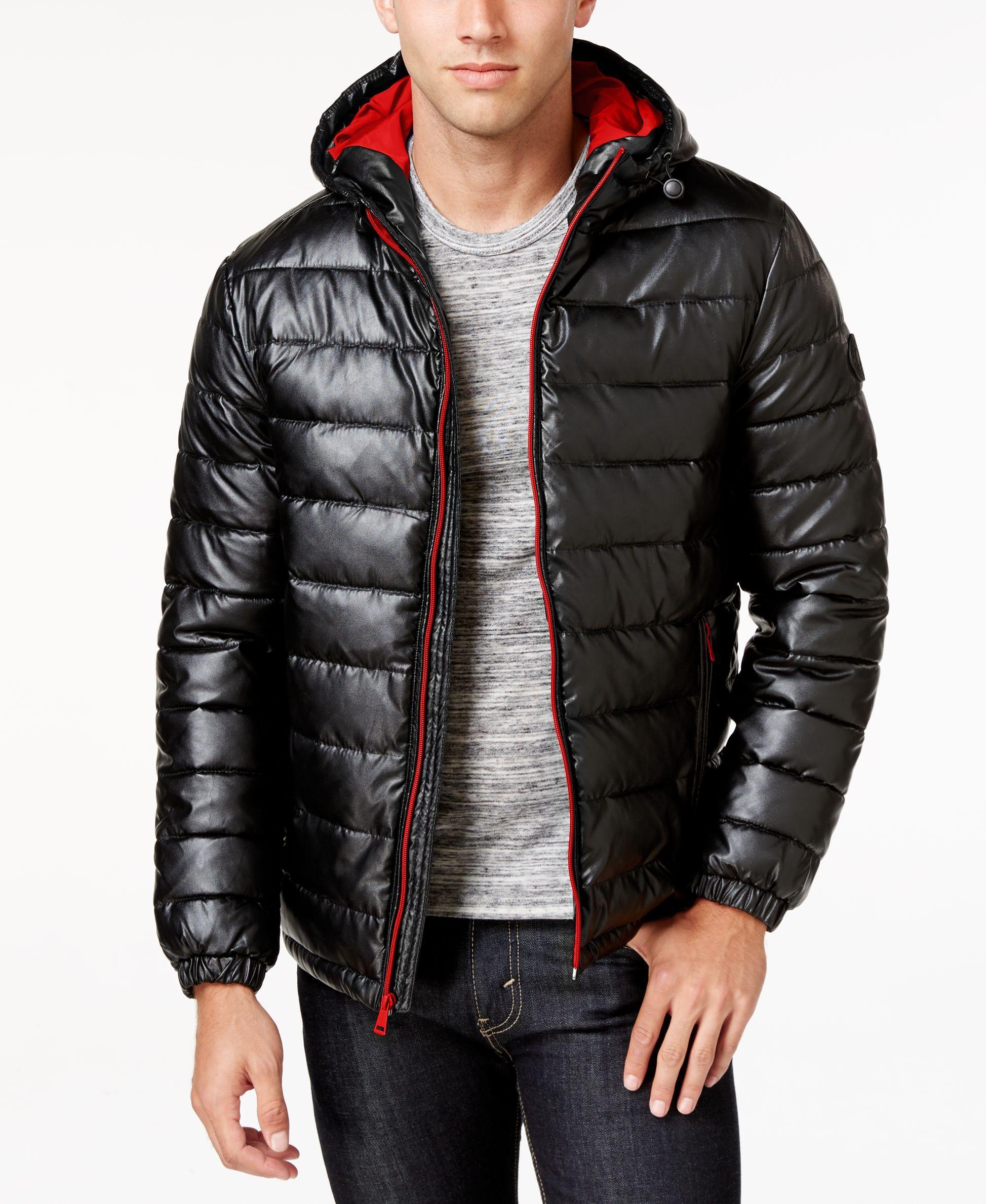 Men's FauxLeather Puffer Coat Stylish jackets, Cole