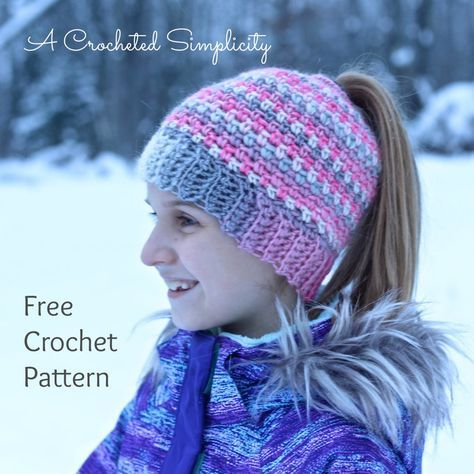 Free Crochet Pattern: Linen Stitch Messy Bun / Ponytail Hat | good ...