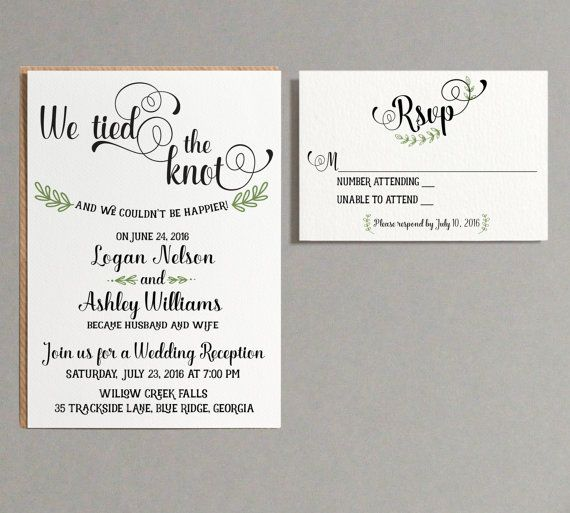 Wedding Reception invitation We tied the Knot by AdorePaperCo - invitation wording for elopement party