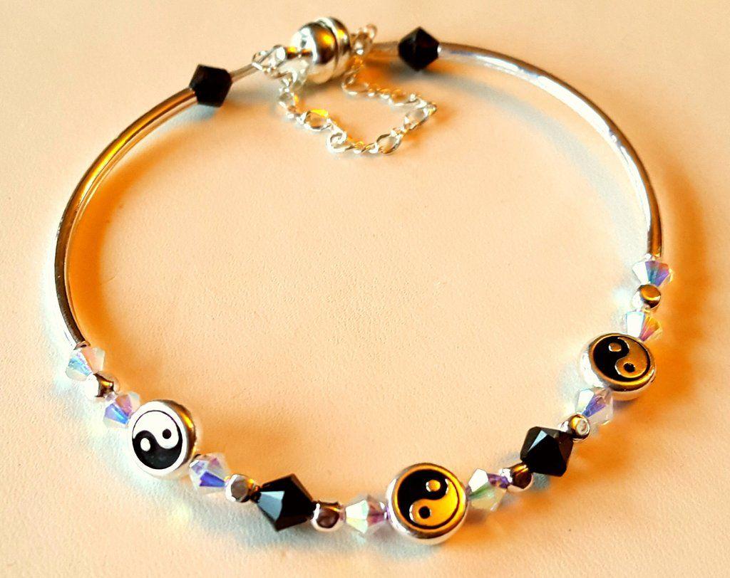 Crystal clasp bracelet 016 ying yang black