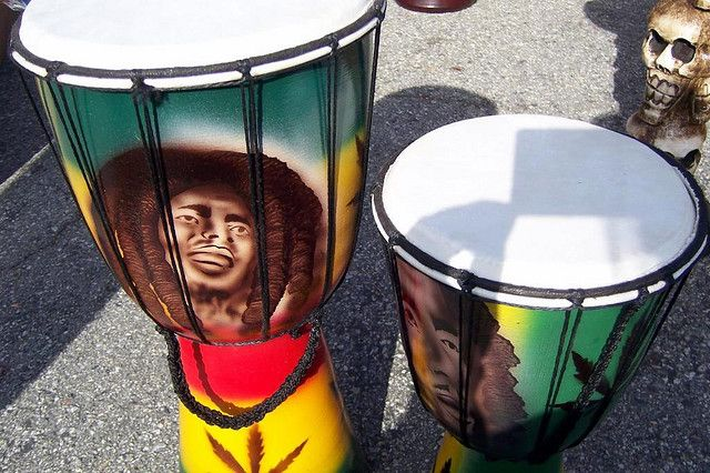 Airbrushed Bob Marley Drums