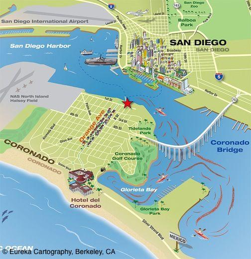 Coronado Island Kayak Map with San Diego in the background © Eureka ...