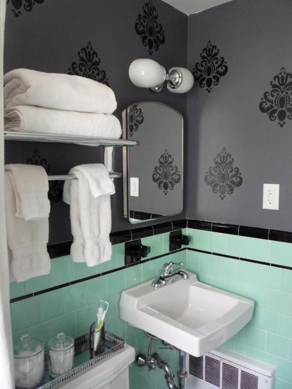 Mint Tiles Got You Feeling Blue Dont Demolish Distract The Eye - Pink towels for small bathroom ideas