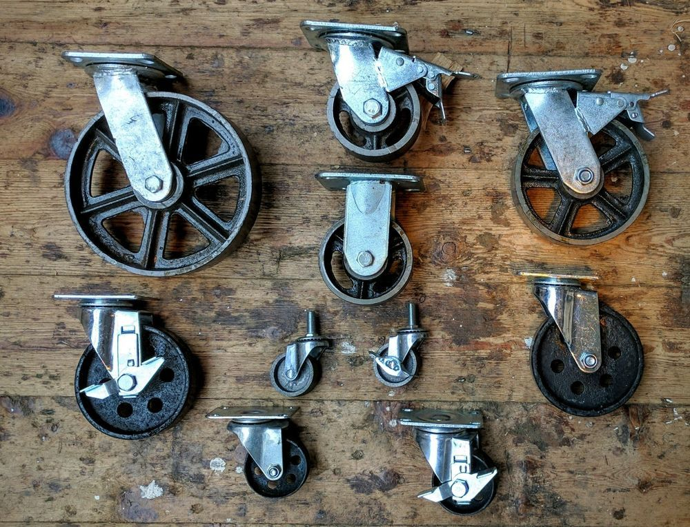 Industrial furniture metal castors with cast iron caster wheel vintage available | eBay