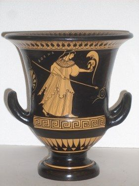 Classical Krater With The Godess Athena On Classical Greek Pottery