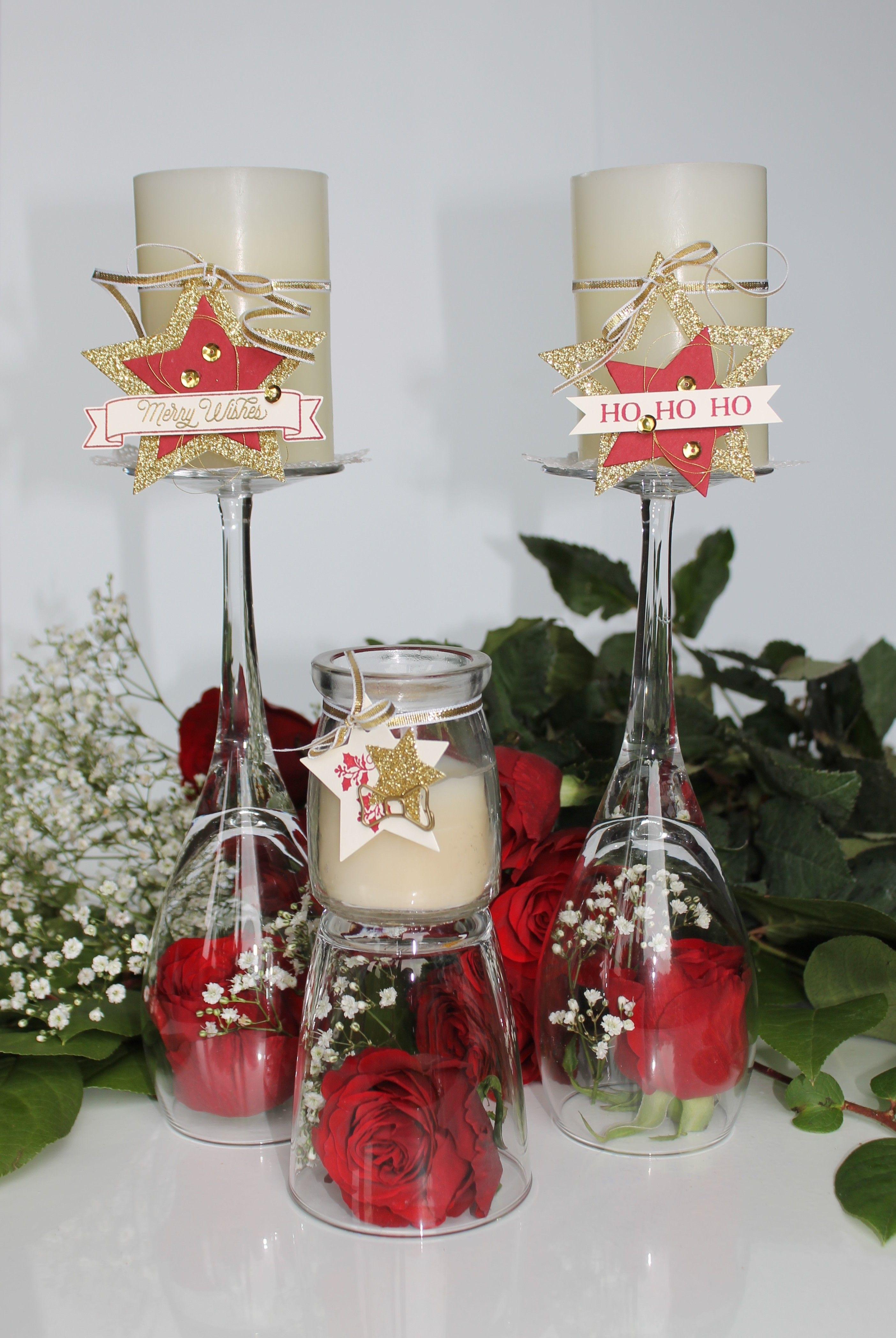 Florale Weihnachtstischdekoration Blumen Basteln Stampin Up