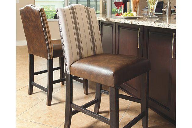 Awesome Moriann Counter Height Bar Stool Set Of 2 By Ashley Inzonedesignstudio Interior Chair Design Inzonedesignstudiocom