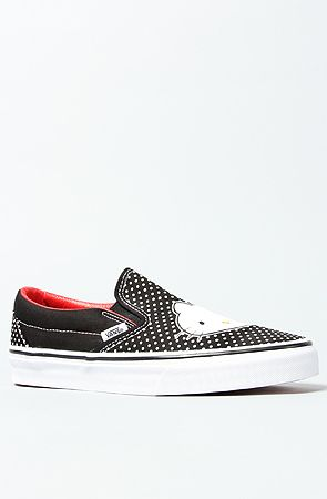 The Hello Kitty Classic Slip On Sneaker in Black and Red by Vans Footwear