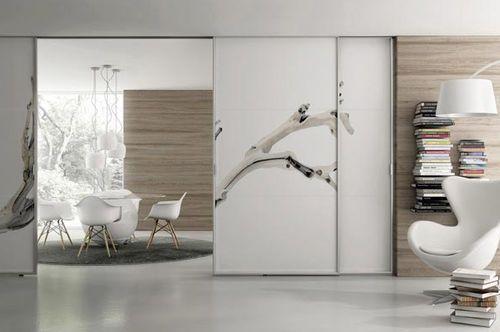 Double porte coulissante en séparation de pièce de chez SAINO STAINO - porte coulissantes sur mesure
