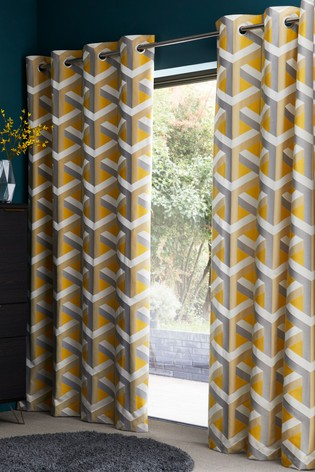 Ochre Optical Geo Jacquard Curtains Lined Curtains Curtains Living Room Decor Curtains